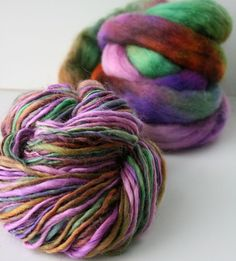 "SpunRightRound on Etsy. ""Holistic"" hand-painted, hand-spun Wensleydale yarn."