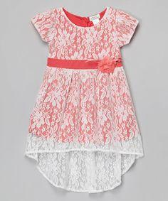 Coral Floral Pleated Chiffon A-Line Dress - Toddler & Girls #zulily #zulilyfinds
