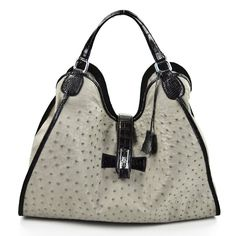 Colette - Genuine Ostrich Hobo Handbag in Grey with Black Alligator Belly Handles and Strap, $3,999.00 (http://www.luxurylifeshop.com/colette-genuine-ostrich-hobo-handbag-in-grey-with-black-alligator-belly-handles-and-strap/)