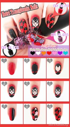 I chose the movie Hotel Transylvania for my supernatural nail art! Funky Nail Art, Long Nail Art, Funky Nails, Owl Nails, Minion Nails, Holiday Nail Art, Halloween Nail Art, Nail Art Hacks, Nail Art Diy