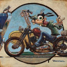 In A Second by artist Damian Fulton. Hang loose with goofy on his motorcycle with his surfboard. Giclee fine art reproductions on canvas. A Canvas Giclee is a gallery wrapped canvas print that comes on a Motorcycle Art, Bike Art, Stretched Canvas Prints, Canvas Art Prints, David Mann Art, Drawn Art, Arte Disney, Lowbrow Art, Surf Art