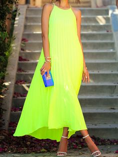 Green Yellow Cut Away Pleated Maxi Dress » Awesome color!