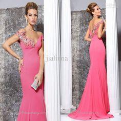 Wholesale Evening Dresses - Buy 2014 Tarik Ediz Elegant Pink Cap Sleeve Appliqued Mermaid Sheath Column Evening Prom Dresses Custome Made Long Evening Gowns High Quality, $139.0 | DHgate
