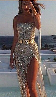 Women's Fashion Sequins V Neck Maxi Dress