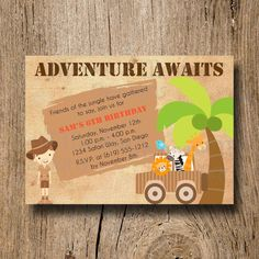 Jungle Safari Birthday Invitation by MermaidMonkeyDesigns on Etsy,