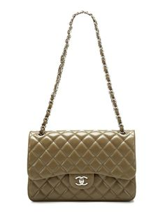 Olive Quilted Caviar Classic Jumbo 2.55 Double Flap Bag