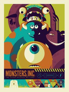 This Monsters Inc. poster design Credits: Monsters Inc. Poster Design by (©) Tom Whalen. Tom Whalen, Art Disney, Disney Kunst, Disney Pixar, Vintage Disney, Vintage Cartoon, Vintage Movies, Poster Retro, Plakat Design