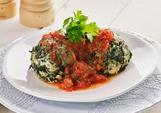 Spinach Dumplings with Tomato and Herb Sauce