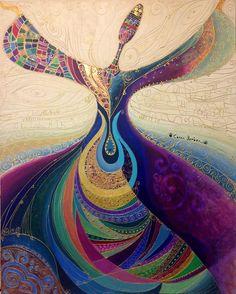 dancing lady art by Canan Berber Whirling Dervish, Arte Fashion, Iranian Art, Turkish Art, Arabic Art, Islamic Calligraphy, Islamic Art, Mosaic Art, Folk Art
