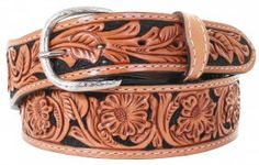 Mens - Hand-Tooled - Double J Saddlery Belt -  B032A - Floral Tooled Belt