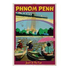 Phnom Penh vintage travel poster   Phnom Penh Classic poster.