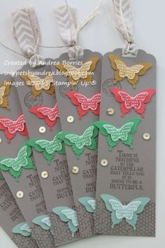 In Color butterfly bookmarks by Andrea Borries (MN, U.S.) Supplies: Stamps: Butterfly Basics Paper: Tip Top Taupe, Delightful Dijon, Watermelon Wonder, Cucumber Crush, Mint Macaron, Whisper White card stock Ink: Tip Top Taupe, Delightful Dijon, Watermelon Wonder, Cucumber Crush, Mint Macaron Accessories: Scalloped Tag Topper punch, Elegant Butterfly punch, Bitty Butterfly punch, gold sequin trim, gold baker's twine, chevron ribbon, linen thread, Glue Dots, Mono Multi liquid glue