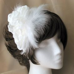 Wide White Feather Handmade Bridal Headband