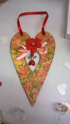 My decoupage Heart with centre hanging Bead Angel