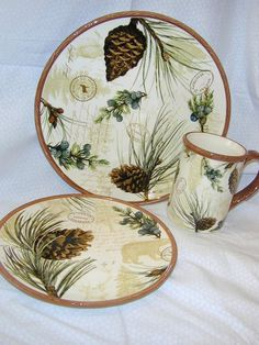 pine cone dishes | Walk in Woods Pine Cone Lodge Dinnerware set Cabin rustic & dinnerware patterns - Google Search | DINNERWARE FOR ANY OCCASSION ...