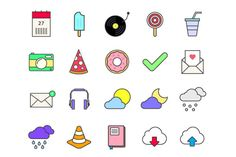 35 Bright Icons By TheHungryJPEG