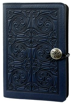 Large Leather Notebook Cover Triskellion Knot | 3 Colors