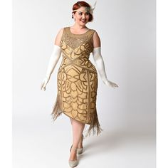 Unique Vintage Plus Size 1920s Style Antique Gold Sequin Gilda Flapper... ($248) ❤ liked on Polyvore featuring plus size women's fashion, plus size clothing, plus size dresses, metallic, white sequin cocktail dress, white cocktail dress, white sequin dress, plus size sequin dress and plus size cocktail dresses