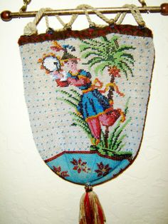 early micro bead Reticule - Mandarin man playing tambourine. Barbara Jones Collection