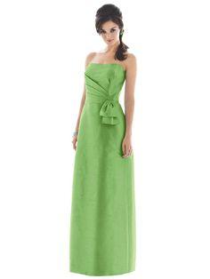 A-Line Straight Across Neckline Strapless with Ribbon Floor Length Zipper Taffeta Bridesmaid Dress