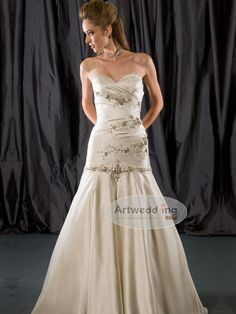 Appliqued Satin Mermaid Wedding Gown COURTNEY BURMA you would smash in this!
