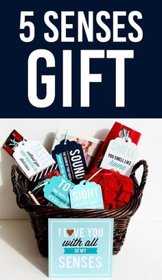 The PERFECT boyfriend gift or husband gift for your anniversary. The 5 Senses Gift Basket- love him in every SENSE of the word! #5sensesgift #boyfriendgift Diy Gifts For Men, Sexy Gifts, Cute Gifts, Great Gifts, Perfect Gift For Boyfriend, Gifts For Husband, Boyfriend Gifts, Five Senses Gift, Gift Baskets For Him