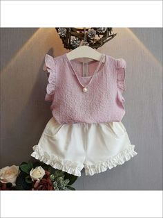 Cheap fashion girl clothing, Buy Quality girls clothing directly from China girls fashion clothing Suppliers: Belababy Girls Clothing Sets 2017 Summer Children 's Fashion Casual Pearl Sleeveless Chiffon Blouse + Shorts Suits Kids Clothes Girls Summer Outfits, Toddler Girl Outfits, Baby Girl Dresses, Baby Dress, Kids Outfits, Baby Girls, Toddler Girls, Summer Clothes, Girls Dresses Handmade