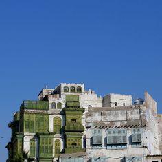 ARABIAN  painted mashrabiya (shanasheel) windows in Jeddah old town, Saudi Arabia