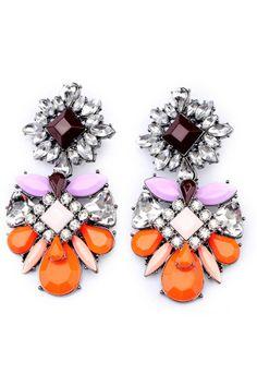 Color Block Flower Drop Earrings
