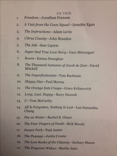 A list of books recommended by a college professor to his freshman English class.