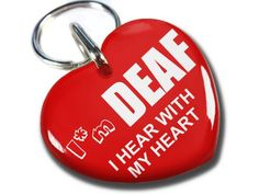 "Service Dog Id Red Heart I'm Deaf (Regular 1.00"") ID4Pet"
