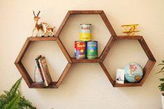 Honeycomb Shelf. Geometric shelf. Modern shelf. Hipster Apartment.