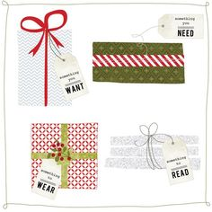 the four gifts - free printable gift tags from Jones Design Company Christmas Gift Guide, Diy Christmas Gifts, All Things Christmas, Holiday Gifts, Christmas Holidays, Simple Christmas, Holiday Ideas, Christmas Decor, Gifts For Family