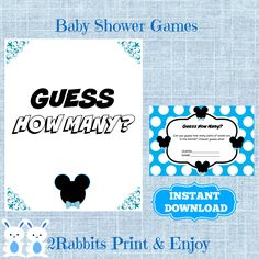 Mickey Mouse Guess How Many Socks Game with Matching Sign, Disney Boy Baby Shower How Many Socks in the Jar Instant Download by 2RabbitsPrintEnjoy on Etsy