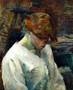 """""""Henri de Toulouse-Lautrec La Rousse in a White Blouse 1889 Oil on canvas 59.5 x 48.2 cm """""""
