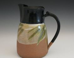 handmade stoneware large pitcher with bamboo design  and black accent in Craftsman / Japanese stye
