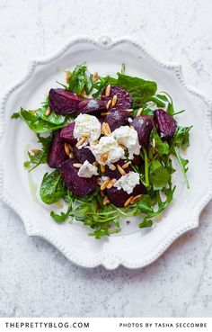 Beetroot and Goat Cheese Salad. Roasted beetroot and goats cheese salad with toasted pine nuts and fresh greens leaves. Beet Recipes, Healthy Salad Recipes, Wine Recipes, Beet And Goat Cheese, Goat Cheese Salad, Boursin Cheese, Food Styling, Beetroot, Summer Salads