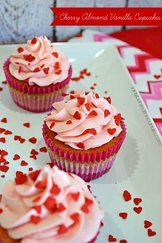 Cherry Almond Vanilla Cupcakes - Lady Behind The Curtain