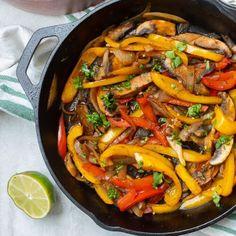 "Easy Vegetarian Fajitas   A Mind ""Full"" Mom Vegetarian Fajitas, Vegan Fajitas, Homemade Fajita Seasoning, Homemade Salsa, Veg Recipes, Healthy Recipes, Stuffed Portabello Mushrooms, Fajita Vegetables, Fruit Roll"