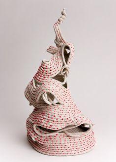 "Tina Koyama | ""Knots Decrease Working Loads by 50%""  Cotton sash cord, glass beads."