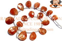 Sunstone Faceted Pear (Quality AAA) Shape: Pear Faceted Length: 18 cm Weight Approx: 10 to 12 Grms. Size Approx: 7.5x10 to 11x15.5 mm Price $36.30 Each Strand