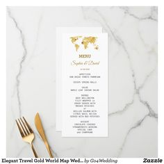 Shop Elegant Travel Gold World Map Wedding Menu created by Personalize it with photos & text or purchase as is! Map Wedding, Wedding Menu Cards, Destination Wedding, Wedding Strawberries, Gold World Map, Water Color World Map, Trendy Wedding, Wedding Colors, Champagne