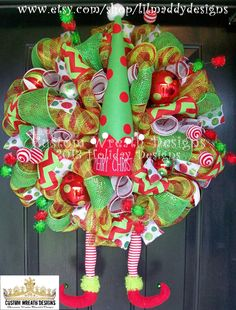 Christmas Elf Lux Wreath with Hat and Elf Legs by lilmaddydesigns, $165.00