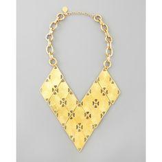 Golden Geometric Bib Necklace - Devon Leigh