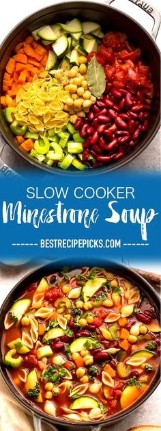 Slow Cooker Minestrone Soup is the perfect easy comforting homemade meal on a co. Slow Cooker Minestrone Soup is the perfect easy comforting homemade meal on a cold winter day. Best of all, this set and forget crock-pot recipe is si. Healthy Soup Recipes, Crockpot Recipes, Vegetarian Recipes, Crock Pot Soup Recipes, Vegetable Soup Crock Pot, Crock Pot Vegetables, Vegetable Stew Slow Cooker, Crock Pot Pasta, Crock Pot Healthy
