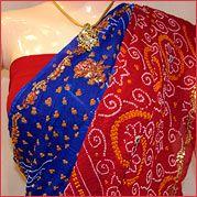 Red & Blue Bandhej Saree