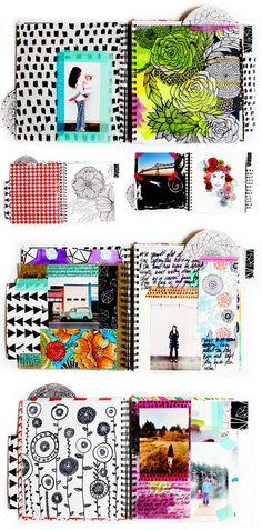 alisaburke: a peek inside my art journal art journalling using pre-painted papers, photos, tape, doodles etc.: