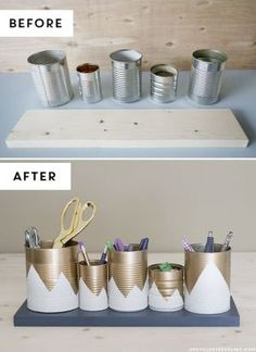 15 Unique DIY Desk Organizing Ideas: Can Organizer - Diy and Crafts Home Desk Organization Diy, Diy Desk, Diy Storage, Organizing Ideas, Storage Ideas, Storage Solutions, Upcycled Crafts, Recycled Cans, Tin Can Crafts