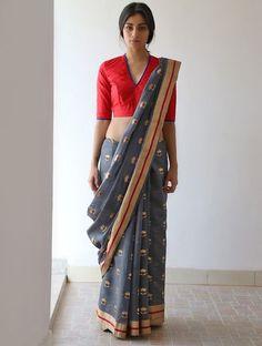 Violet Nanki Silk Saree with Zari Border by Raw Mango