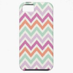 A colorful and modern Ikat Chevron Print iPhone 5 Case in minty teal, light pink coral, purple and magenta.